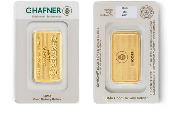 1 Unze Goldbarren von C.HAFNER